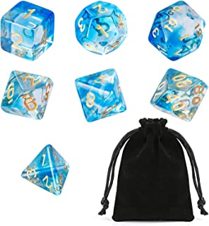 GWHOLE 7 PCS Polyhedral Dice Set Dungeons and Dragons Table Game Dice for D&D, DND, GRP with Black Pouch, Crystal Blue