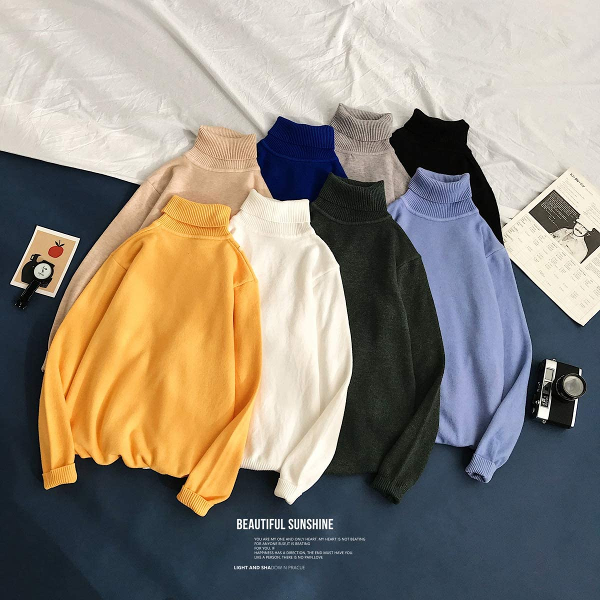Men 's Slim Fit Turtleneck Sweater Casual Fashion Long Sleeve Stretch Winter Knitted Pullover Tops