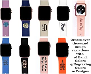 Silicone Watch Band, Custom Silicone Watch Band, Personalized Silicone Band Compatible with Apple Watch 38mm, 40mm, 42mm, 44mm, Monogram Watch Band, Ships same day if order placed by 12pm PST