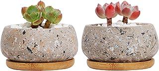 T4U 9cm 3号鉢 セメント鉢 植木鉢 多肉植物 サボテン鉢 観葉植物鉢 プランター 受け皿付き おしゃれ ガーデン グレー 2点入り