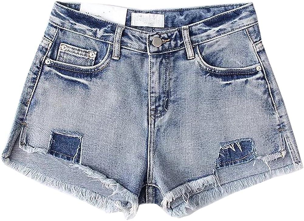 LIYT Womens Summer Ripped Distressed High Waisted Loose Wide Leg Denim Shorts