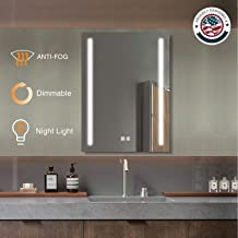 ExBrite LED Bathroom Mirror, 24 x 32 inch, Anti Fog, Night Light, Dimmable, Touch Button, Super Slim,90+ CRI, Waterproof IP44,Vertical Wall Mounted Way Only