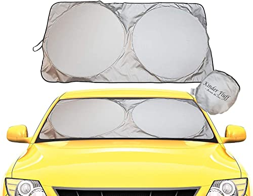 kinder Fluff Car Windshield Sun Shade with Storage Pouch | The only Certified Foldable Sunshade Proven to Block 99.87...