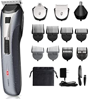 Beard Trimmer Men's Grooming Kit - All in 1 Multifunctional Rechargeable Cordless Hair Trimmer for Beard Head Body & Face Nose and Ear Hair Trimmer for Men, IPX6 Waterproof for Easy Cleansing