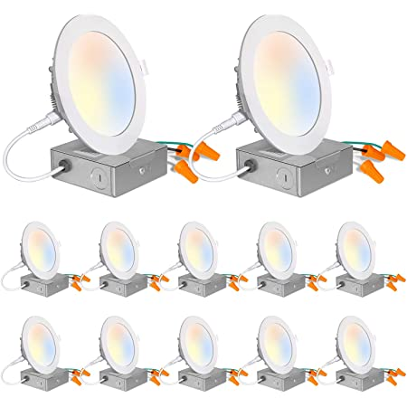 """Ceiling LED Light Set for 5 to 6/"""" Recessed Can /& 2.75 to 4/"""" Junction Box 12ct"""