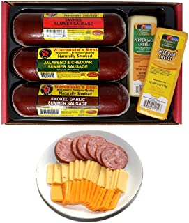 WISCONSIN'S BEST & WISCONSIN CHEESE COMPANY'S, Gourmet Variety Sampler Gift Basket - Summer Sausage & 100% Wisconsin Chees...