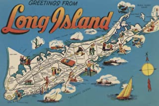 Greetings From Long Island, New York View - Vintage Halftone (9x12 Art Print, Wall Decor Travel Poster)