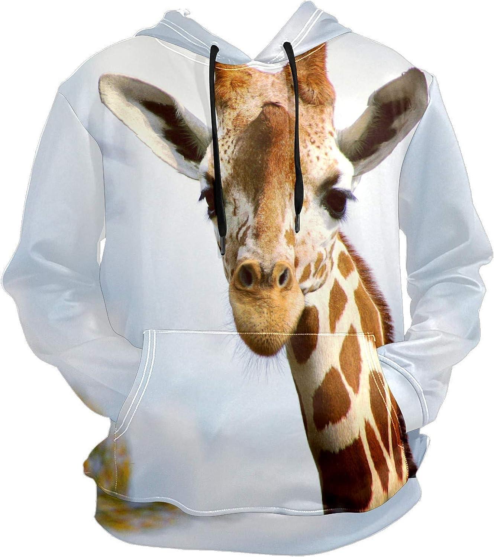 Men's Sport Hoodie Cute Wild Giraffe Portrait Big and Tall Hoodies for Men Women Oversized Hooded Sweatshirt Hip Hop Pullover Hoodie Midweight Hood for Boys Girls