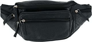 CTM Multi Compartment Leather Fanny Waist Pack