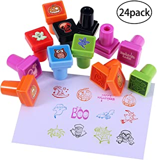 PIXNOR Assorted Stamps for Kids Self-Ink Kids Stamps for Holiday Party Favors, 24 Different Designs, 6 Assorted Colors