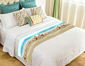 Custom Seashell Starfish Soft Sand Blue Sea Bed Runner Bedding Scarf Size 20x95 inches