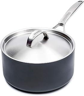 Sponsored Ad - GreenPan Paris 3 Quart Non-Stick Dishwasher Safe Ceramic Covered Sauce Pan, Gray -