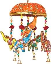 Indian Traditional Elephant Orange Umbrella Hanging Layer Of Five Elephant Door Hanging, Decorative Hanging