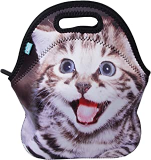 (Middle, Happy Cat) - Lunch Boxes, OFEILY Lunch Tote Lunch bags with Neoprene