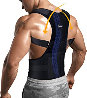 Back Holder Posture Corrector with Lumbar Support Belt for Shoulder and Neck Pain Relief Device Adjustable Clavicle Support Brace (Black, M)