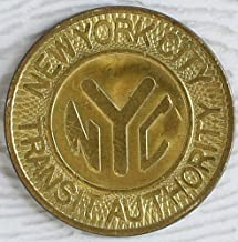 1980 SCARCE LG SIZE VINTAGE NYC SUBWAY TOKEN! 1980 SOLID BRASS! BUY 2 GET 1 197'0's with Y CUT OUT! One Fare Nice Used Con...