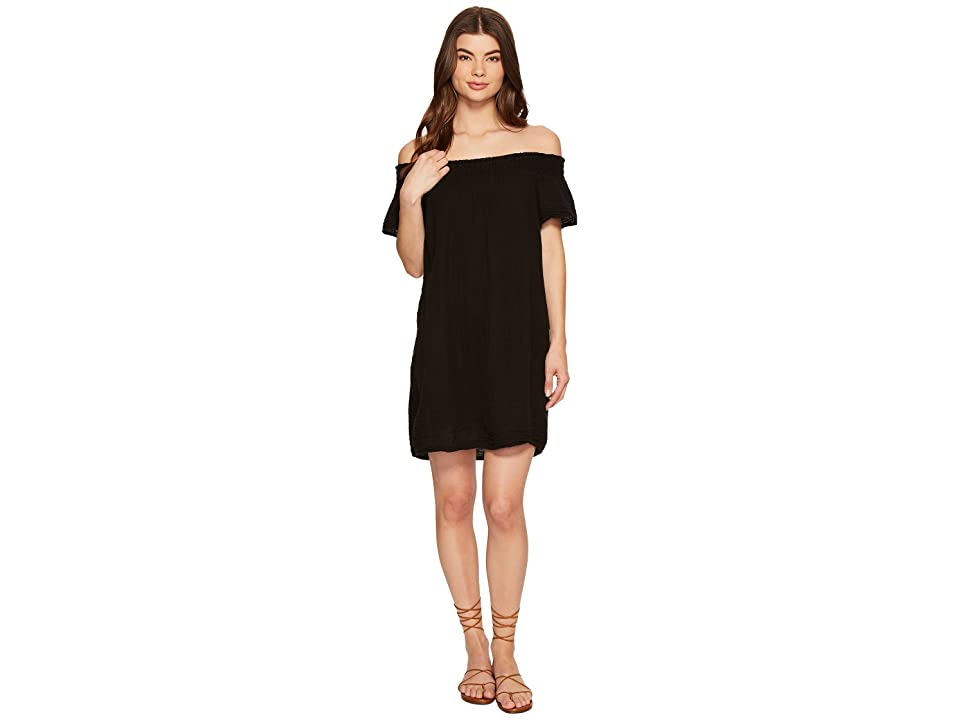 Michael Stars Double Gauze Smocked Off Shoulder Dress (Black) Women