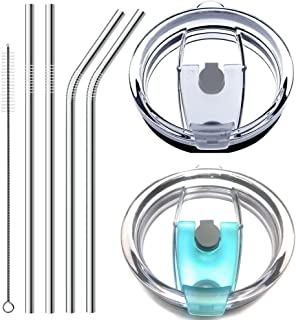 No Leak 100% Spill Proof Splash Resistant Lid with Drinking Straws Fit for YETI Rambler, Ozark Trail, Rtic Cooler and More Stainless Steel Mugs (Clear&Blue)