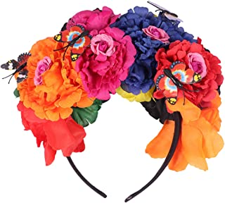 SOLUSTRE Halloween Flower Headband Day of The Dead Crown Butterfly Hair Band Halloween Party Headpiece Cosplay Head Access...