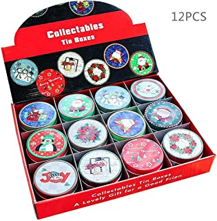Falliback Christmas metal tins round Tinplate Empty Mini box Gift Box candy Spices Tea Can Storage tank Exquisite jewelry box Christmas Party flavor