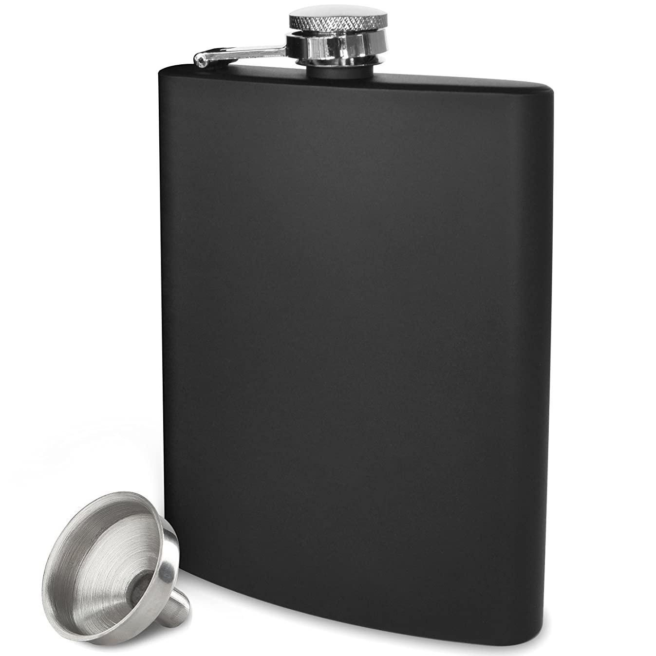 Premium 8 oz Black, Leakproof, Flask - Highest Food Grade (304) Stainless Steel - Liquor Hip Flasks - Free Bonus Funnel and Black Gift Box (Matte Black, 8 Ounce)