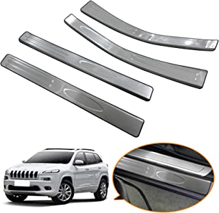 Toryea 4PCS Outer Stainless Steel Door Sill Scuff Plates Guard Fit Jeep Cherokee 2016 2017 2018 2019