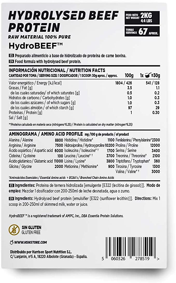 HSN Proteína Hidrolizada de Carne Bovina Beef Protein | con HydroBEEF | Sin Gluten, Sin Lactosa, Sin Soja, Sin Edulcorante, Sin Sabor, En Polvo, 500 g