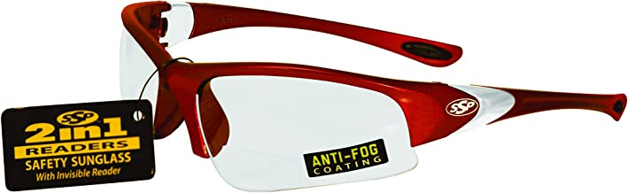 SSP Eyewear 2.00 Bifocal/Reader Safety Glasses with Red Frames and Clear Anti-Fog Lenses, ENTIAT 2.0 RED CL A/F
