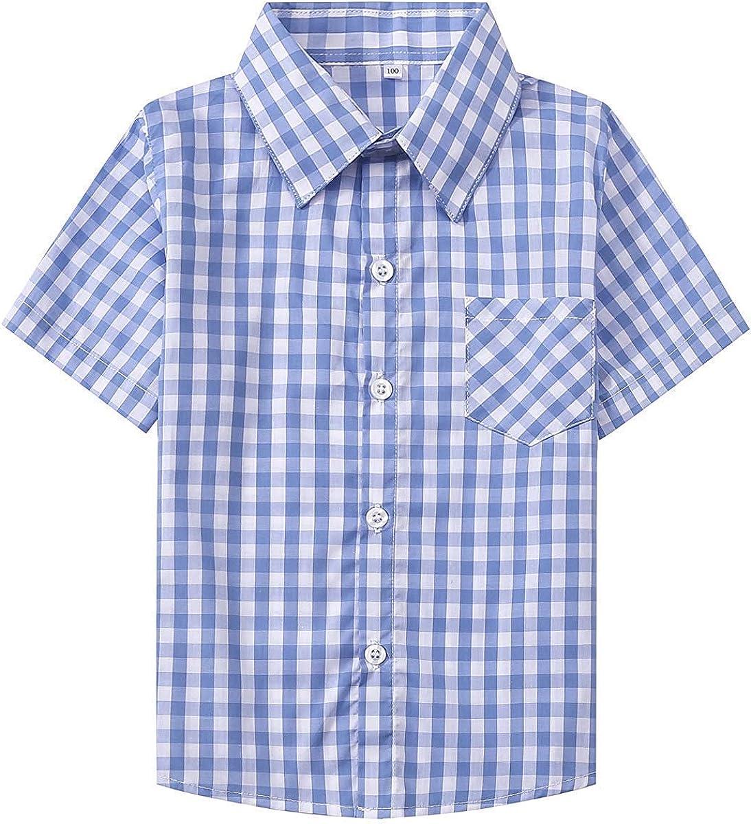 SANGTREE Boys Girls & Adult Short Sleeve Plaid Shirt, 2 Years - 2XL