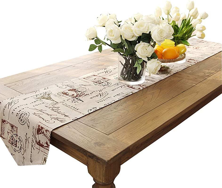 Ethomes Classic Linen Cotton Printed Natural Table Runner Approx 13 X 62 Inches