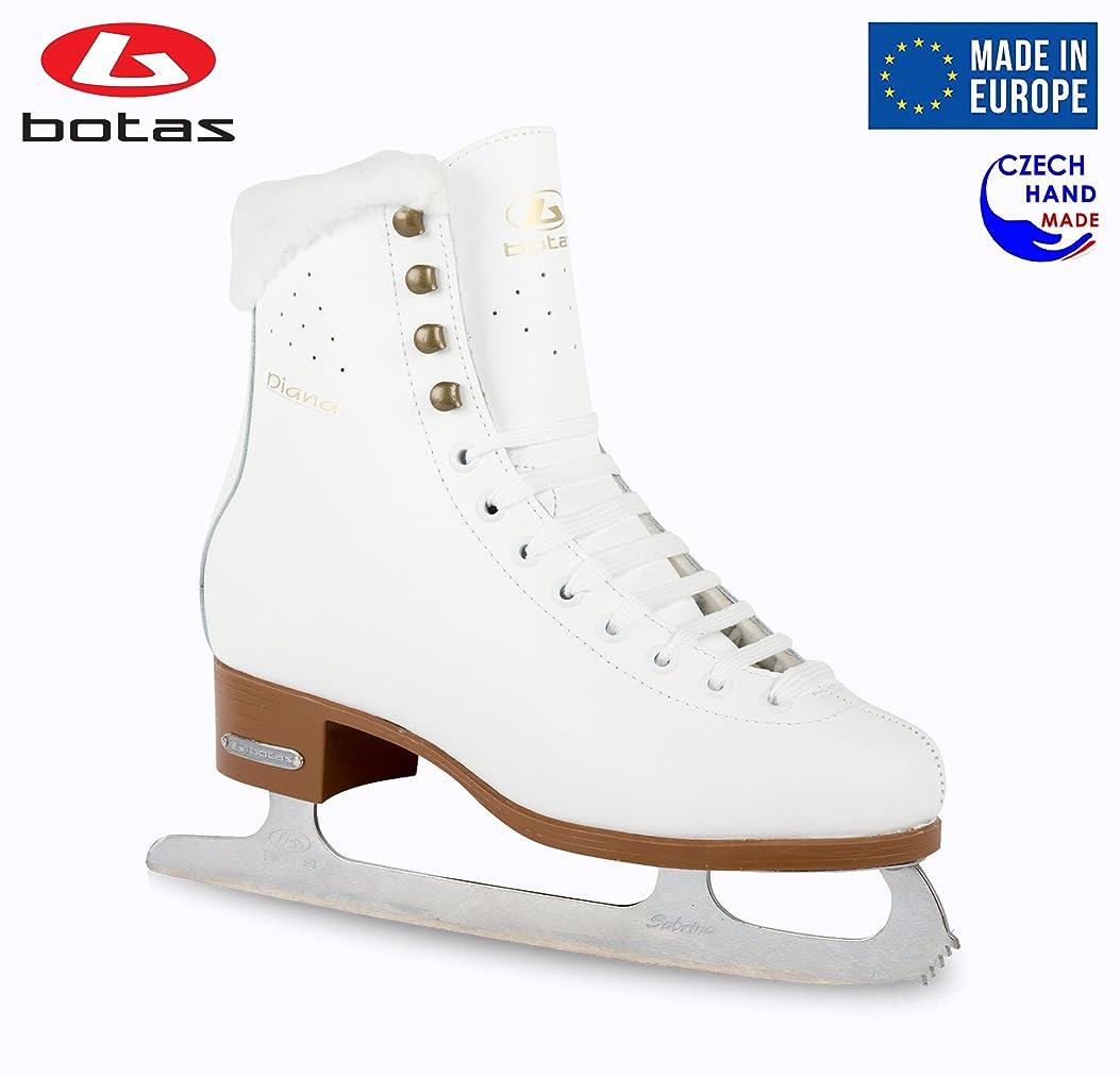 想像力豊かな申込み青写真Botas - モデル: Diana/Made in Europe (チェコ共和国) / 女性用アイススケートフィギュア ガールズ キッズ/サブリナブレード/ホワイトカラー