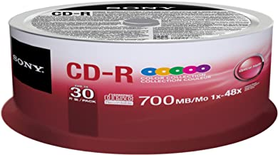 Sony 30CDQ80XP CD-R 48X 80 min/700MB Color Spindle Compact Disc, 30-Pack