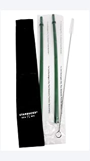Starbucks Reusable Straws Set - 2 PCS Venti Size Straws with Cleaning Brush and Pouch