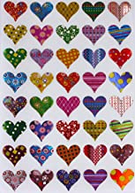 Valentines Stickers Heart Shape - Assorted Patterns Hearts Sticker in Red, Pink, Blue, Gold, Green, Purple, Stars, Flowers...