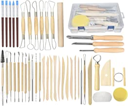 Pottery Tools, 44PCS Ceramic Clay Sculpting Tools Set with Plastic Case, for Beginners and Professional Art Crafts, by Augernis