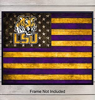 LSU Fighting Tigers Football Wall Art Print Poster - Patriotic Flag - Gift for Men, Louisiana State University, NCAA, NFL Sports Fans - Home Decor for Den, Dorm Room, Man Cave, Office, Unframed 8x10