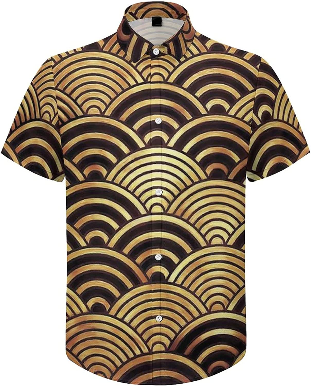Mens Button Down Shirt Japan Wave River Casual Summer Beach Shirts Tops