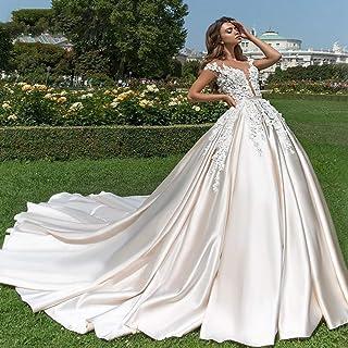 ztmyqp Simplicidad Elegante Vestido de Novia Escote en V Sexy Satén Suave Princesa Elegante Simplicidad Vestido de Novia C...