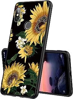 Yoedge Case for Xiaomi Redmi Note 6 Pro, Black Phone Case with Pattern [Ultra Slim] Shockproof Flexible Soft Gel TPU Silicone Back Cover Bumper Skin forXiaomi Redmi Note 6 Pro (Sunflower)