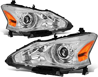 For Nissan Altima Chrome Housing Amber Corner Projector Headlight/Lamps (Left+Right)