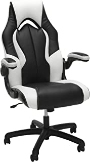OFM Essentials Collection High-Back Racing Style Bonded Leather Gaming Chair, in White (), White, White