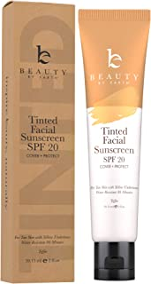 Tinted Sunscreen for Face - SPF 20 With Natural & Organic Ingredients Broad Spectrum Sunblock Lotion, Tinted Moisturizer Zinc Oxide Sunscreen Face for Skincare, Facial Sunscreen (Toffee)