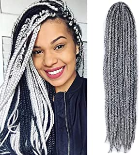 VRHOT 6Packs 18'' Box Braids Crochet Hair Small Synthetic Hair Extensions Twist Crochet Braids Hairstyles Braiding Hair Long Dreadlocks for Black Women 18 inch Grey (18 inch, Gray)