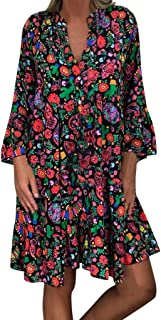 KLFGJ Ladies Long Sleeve Dress Women Knee Length Beach Dress Party Gowns V-Neck Casual Loose Leisure Blouse