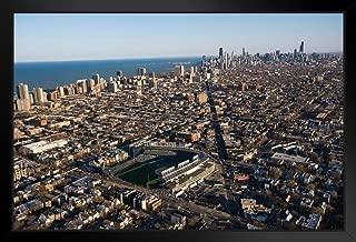 Chicago Illinois Skyline with Wrigley Field Photo Black Wood Framed Art Poster 20x14