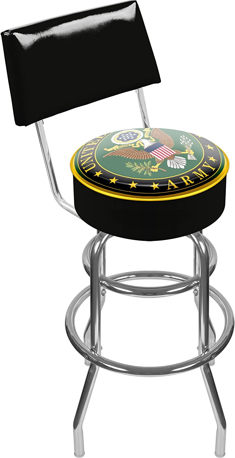 United States Army Padded Swivel Bar Stool with Back