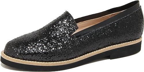 SANTA CLARA 8976N Mocassino femmes Glitter noir chaussures Woman