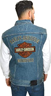 HARLEY-DAVIDSON Mens Bar & Shield Logo Blue Denim Vest 99041-08VM