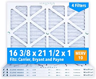 Glasfloss 16-3/8 x 21-1/2 x 1 MERV 10 Air Filters, Pleated, Made in USA (Case of 4) Fits Listed Models of Carrier, Bryant & Payne, Removes Dust, Pollen & Many Other Allergens.