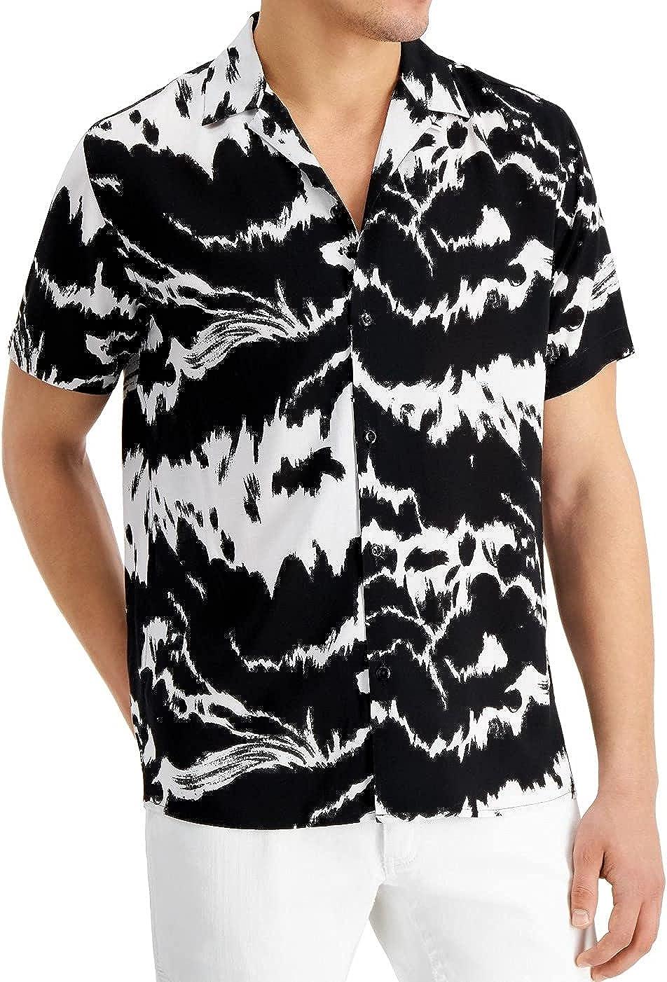 INC Mens Shirt Classic Abstract Print Button Down Black Big 2X